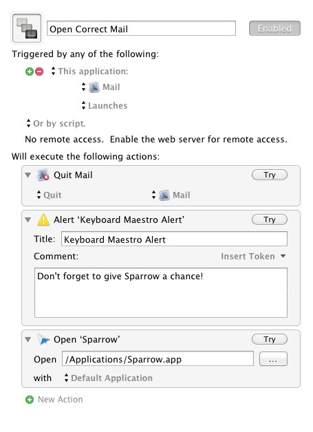 Keyboard Maestro settings to open the correct mail program